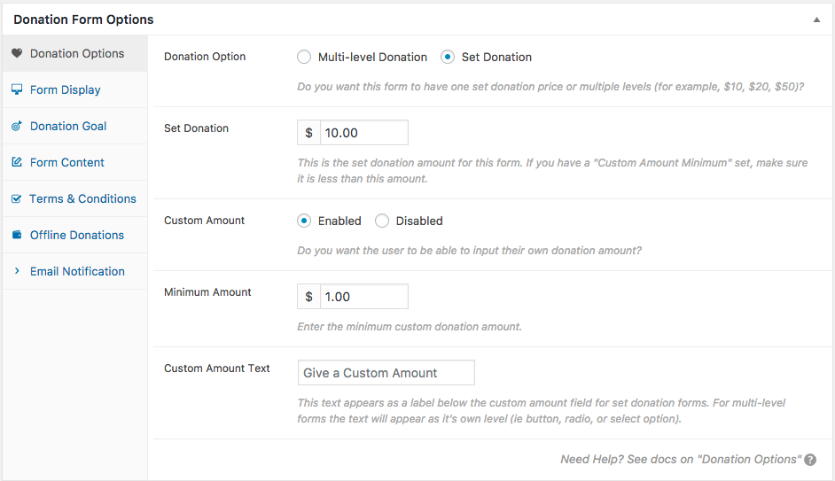Donation Options – GiveWP