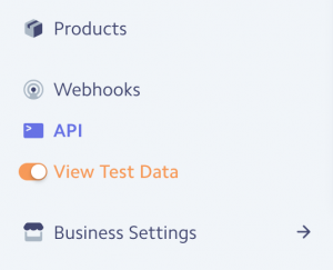 Toggle the Test Data Option for Test Data