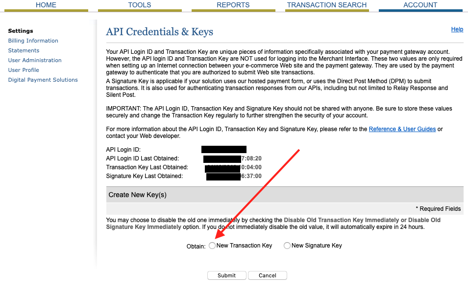 screenshot of the authorize.net interface with a large red arrow pointed at the transaction key option on the bottom of the page.