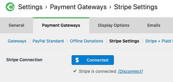 stripe settings showing Stripe connected