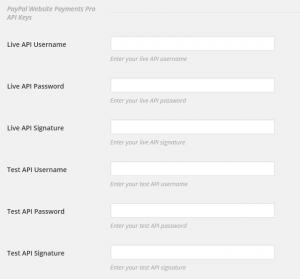 PayPal Pro API Settings