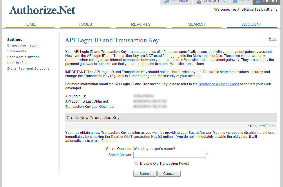 API Login ID and Transaction Key