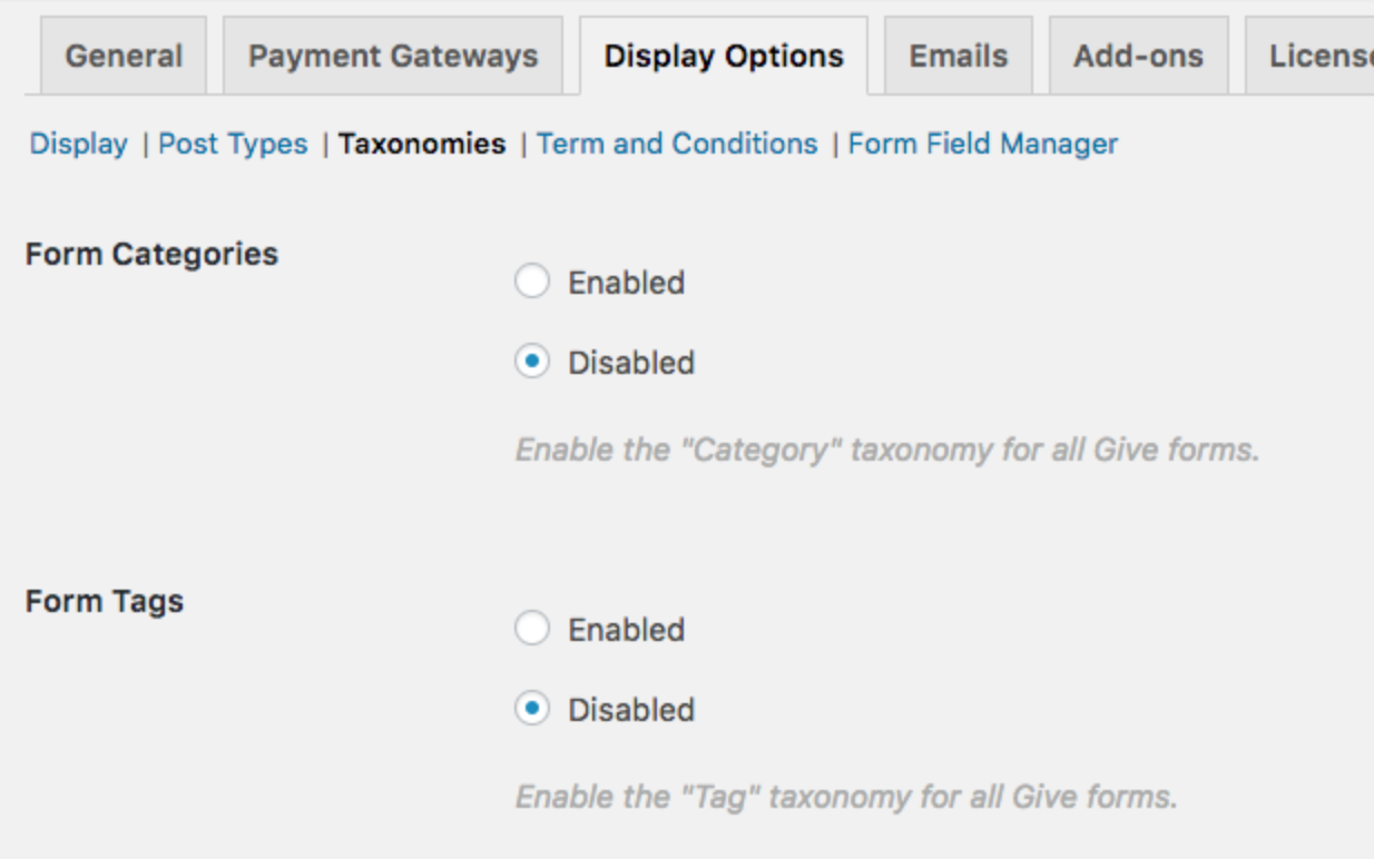 Enable Form Categories