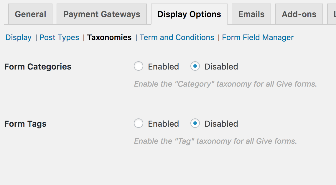 Enable Categories and Tags