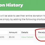 Give Donation History page with Downloadable Receipt