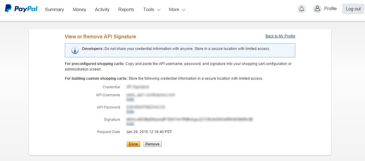 PayPal API Credentials