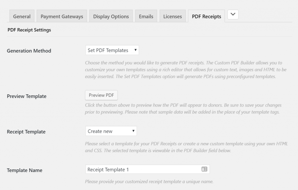 The PDF Receipts Settings Page