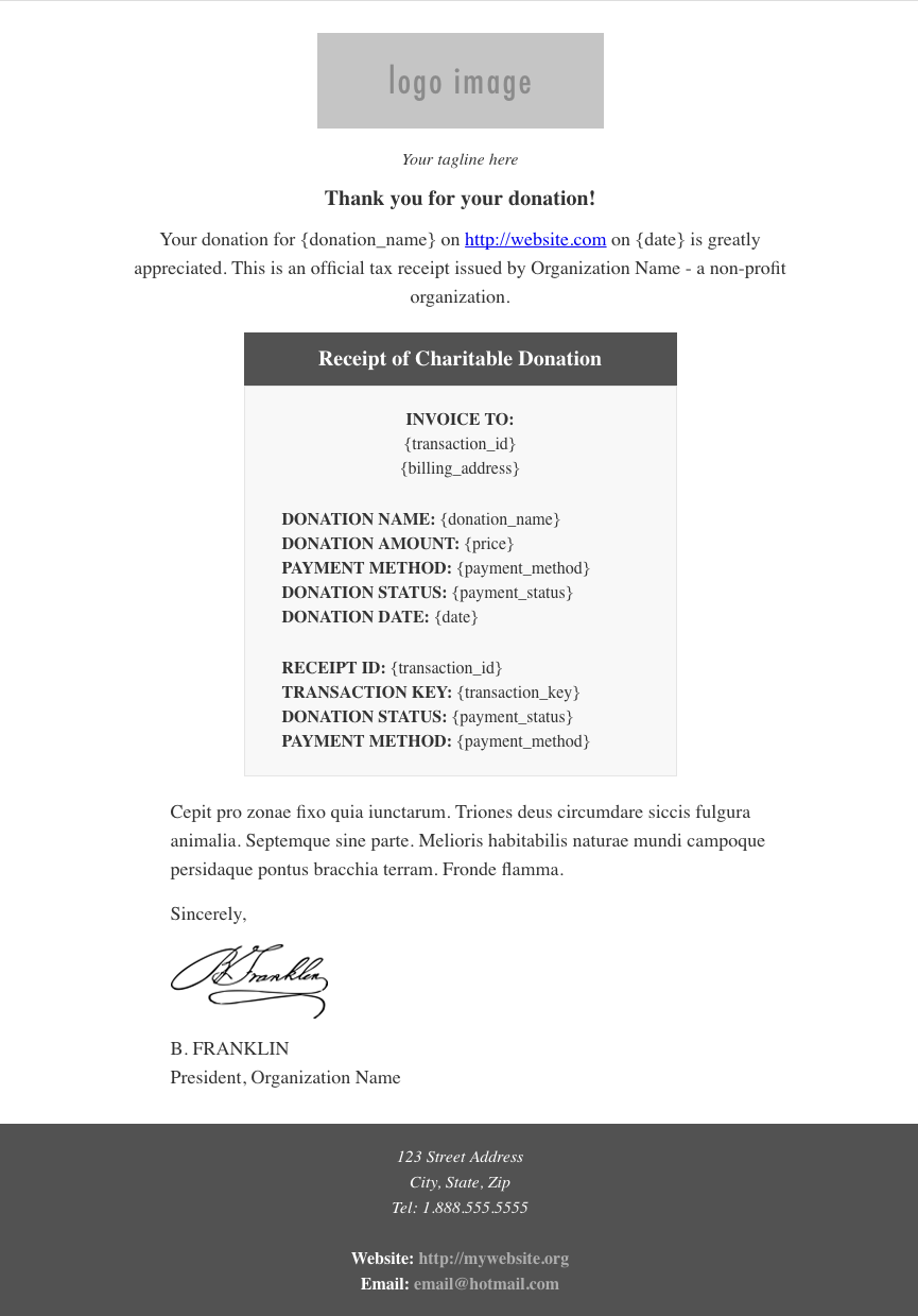 pdf receipts givewp donation plugin