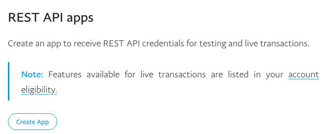PayPal REST API apps