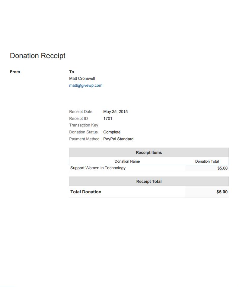 PDF Receipts Give – Standard Receipt