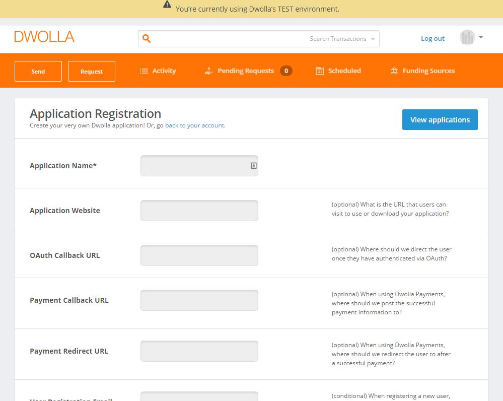 Register a Dwolla App