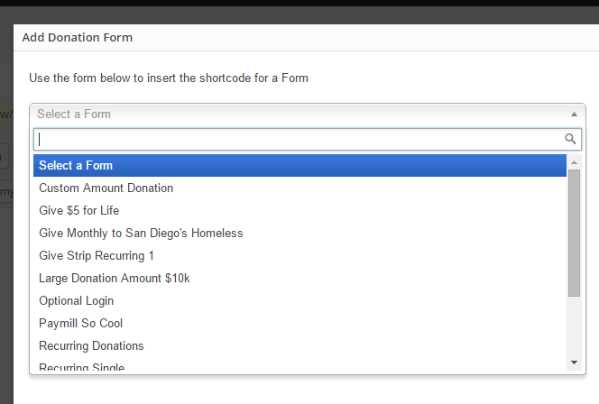 Select a Form to Insert