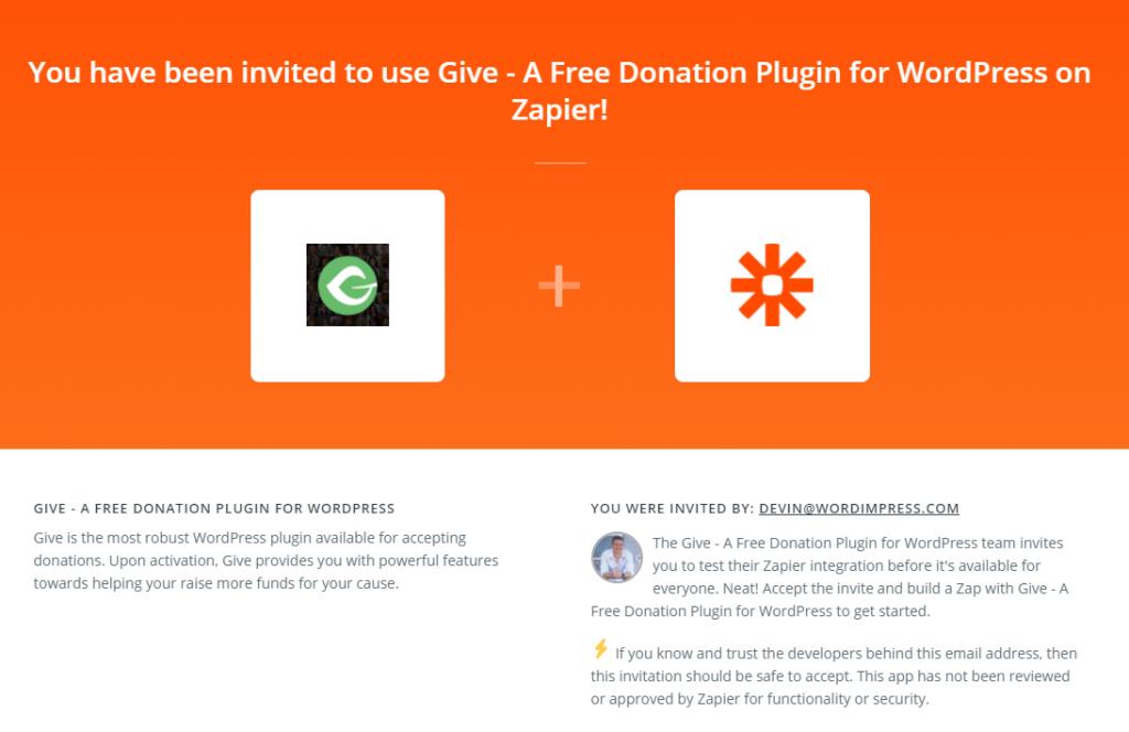 The Give Zapier App Invite Splash Screen