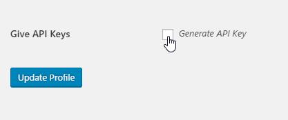 Generate Give API Keys