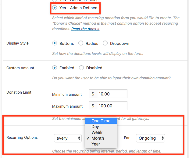 Screenshot of the back end of a Give form with two different boxes highlighted with a red box, the admin defined recurring section, and the recurring options that results from that selection.
