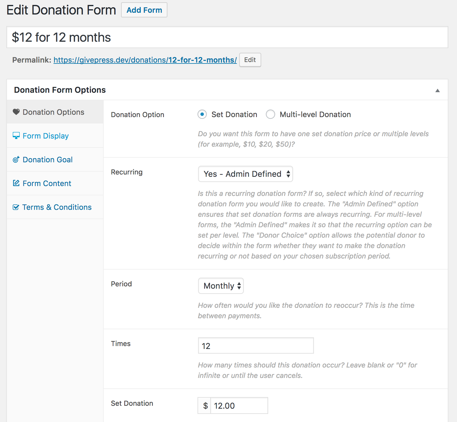 recurring donation form fields give setting your form to support recurring donations