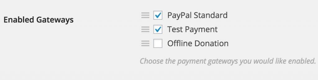 A view of the enabled payment gateways in Give