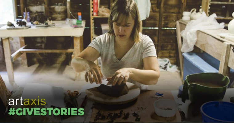 """A woman at the pottery wheel with the words """"Artaxis #Givestories"""""""