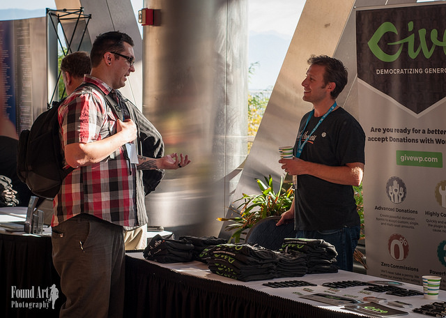 Jason Knill at the Give Sponsor Booth at WordCamp Los Angeles 2015