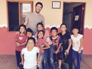 Adam Fout with the kids in Guatemala (Education for the Children).