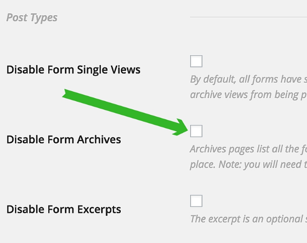 """The """"Disable Form Archives"""" setting."""