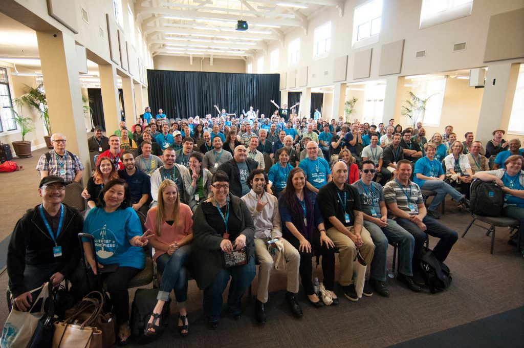 Speakers, sponsors, attendees and volunteers gathered for WordCamp San Diego 2016 4/25/16 taken by Found Art Photography