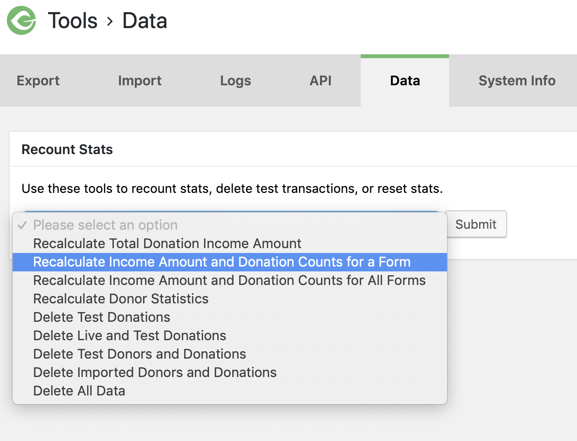 screenshot of the Data tab of Give's Tools.