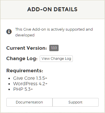 Give Add-on Minimum Requirements