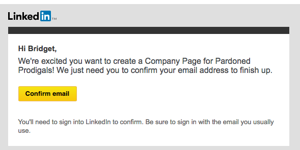 Confirmation email from LinkedIn.