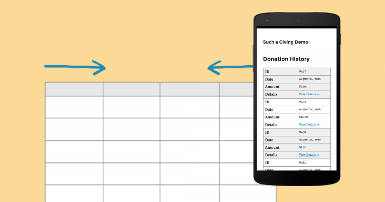 Using the Responsive Tables Plugin with Give