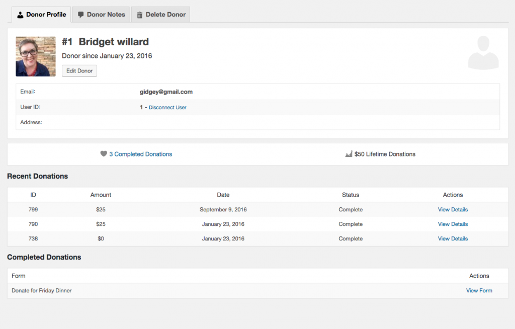Give Donor Management Screenshot
