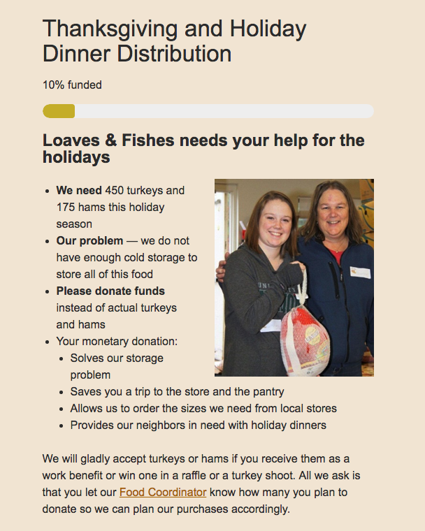 Loaves and Fishes Thanksgiving and Holiday Drive