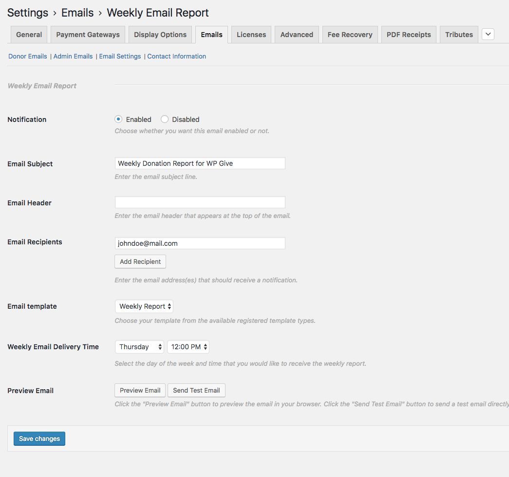 Weekly Email Reports Settings