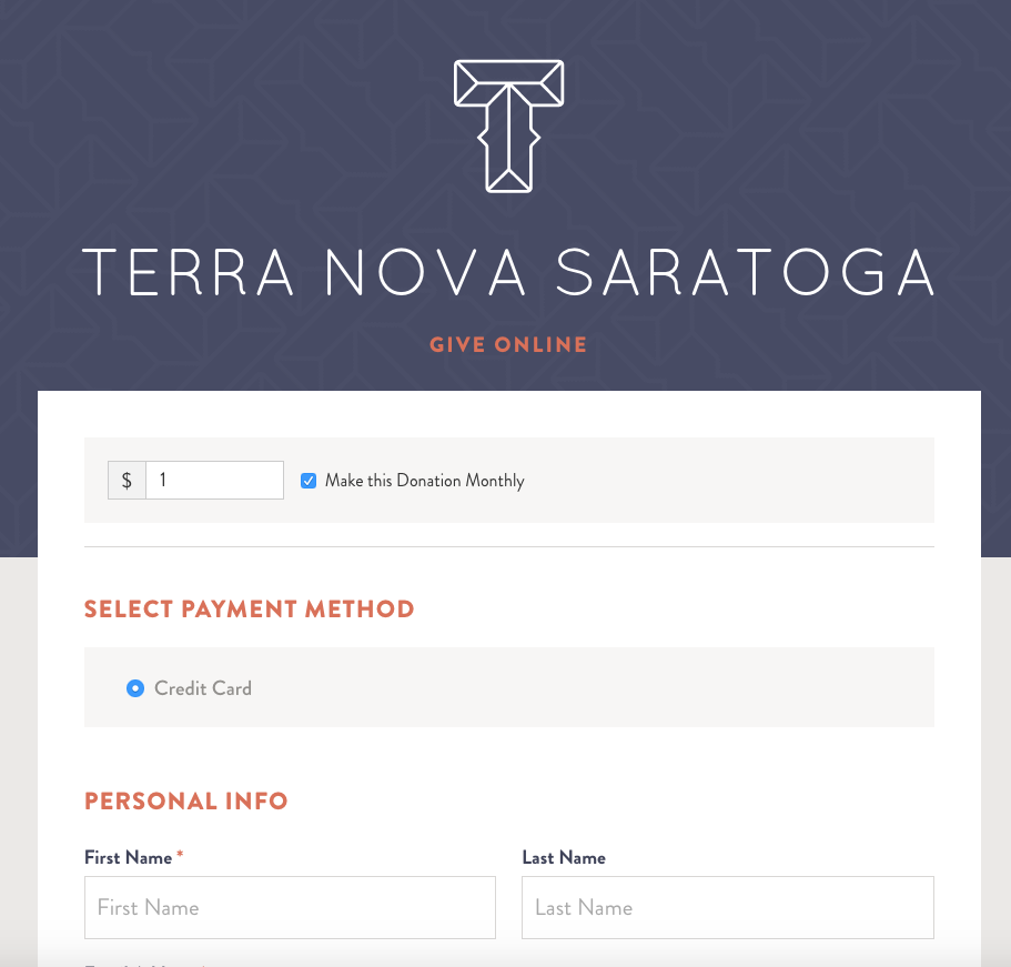 Online Giving at Terra Nova Saratoga