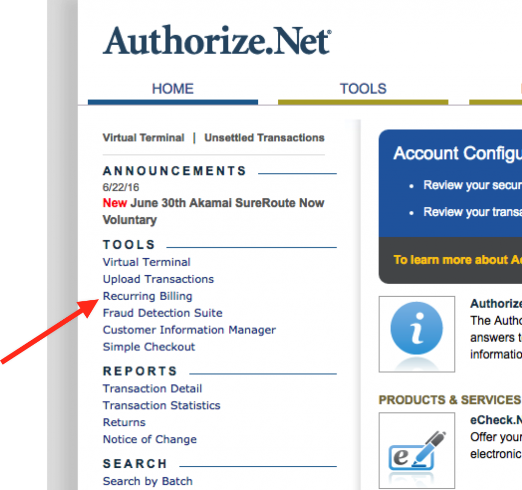 The Recurring Billing section of your Authorize.Net Dashboard