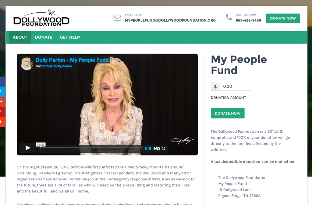 The Dollywood Foundation is using Give For My People Fund