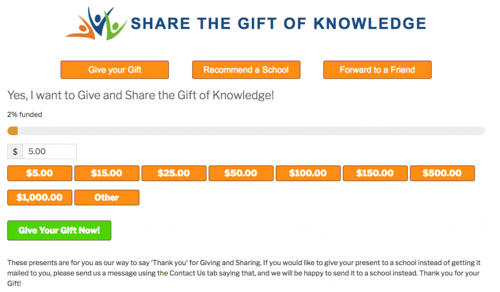 Online Donation Form for Share the Gift of Knowledge
