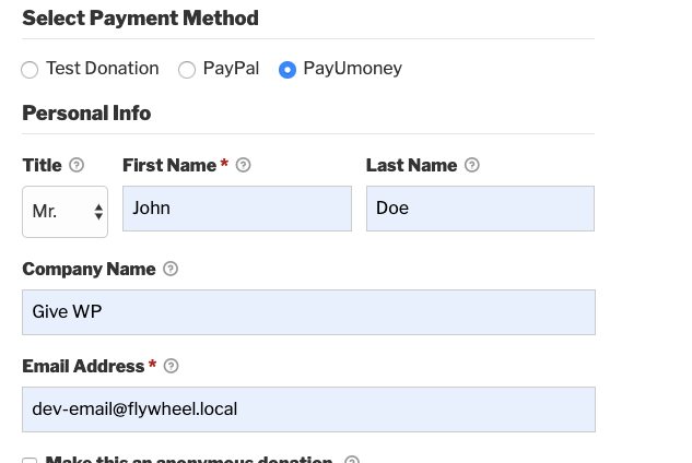 A donation form with PayUmoney enabled.