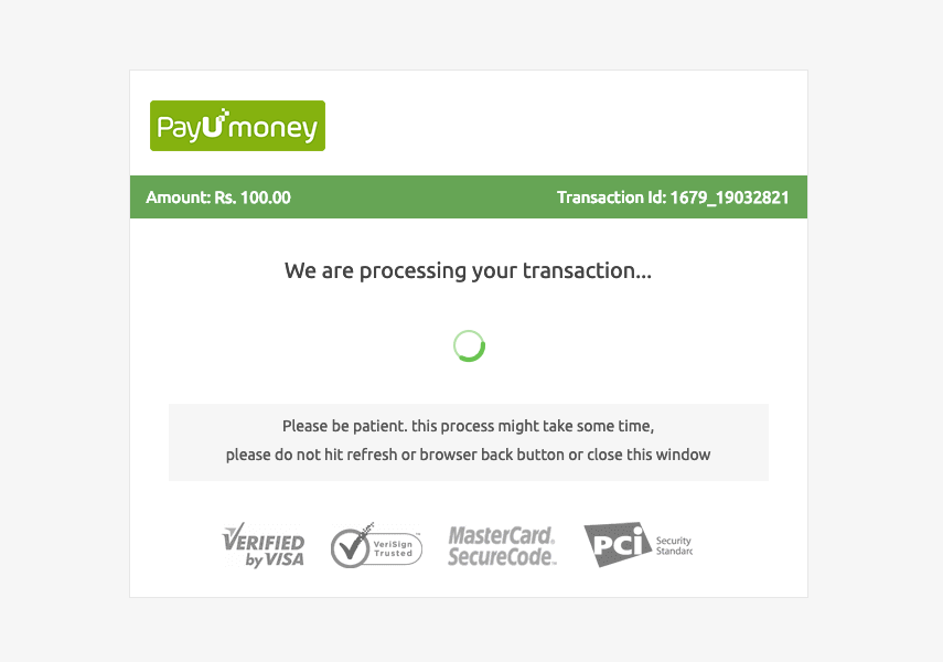 PayUmoney processing a transaction
