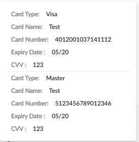 Test card Details