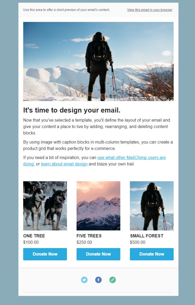 Here's a snapshot of a simple Call for Donations Email Campaign that I created in MailChimp.