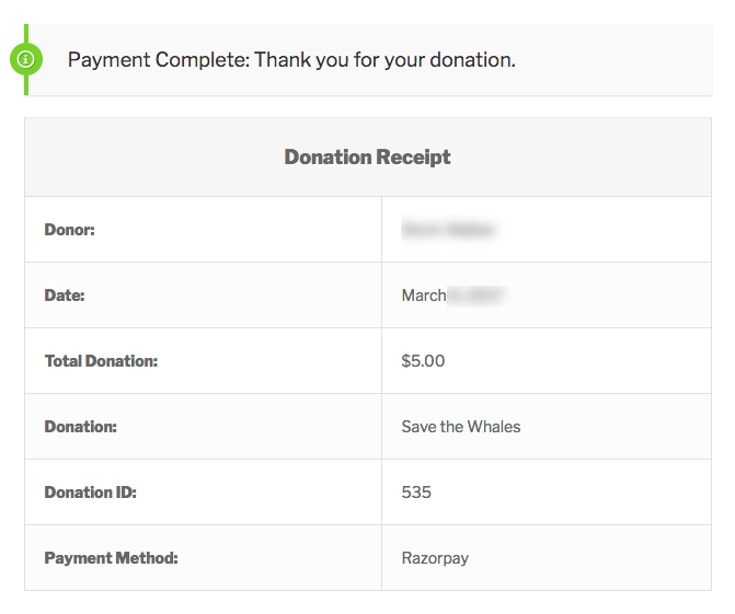Razorpay successful donation receipt