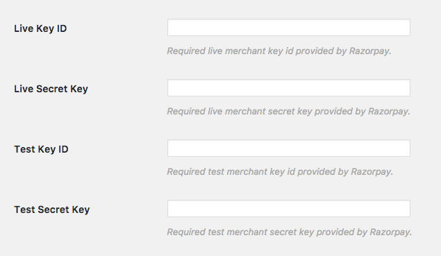 The Razorpay Live and Test Give Settings Fields