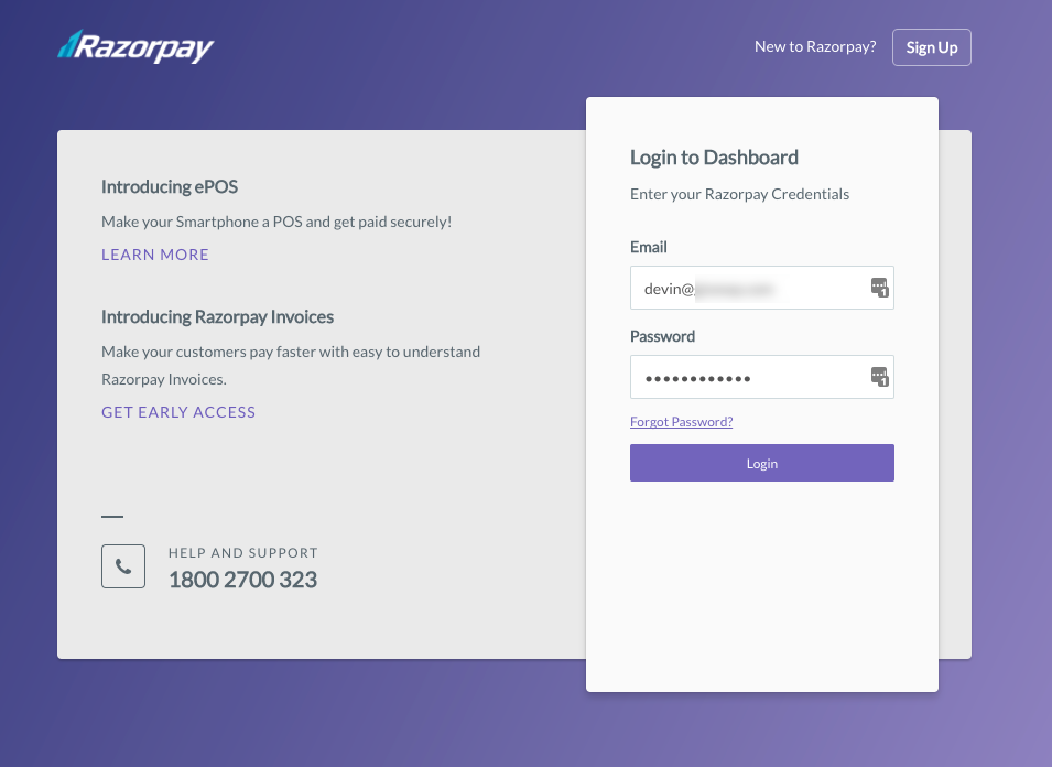 The Razorpay Login