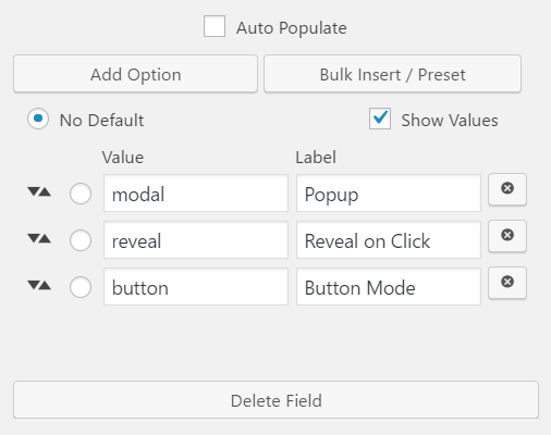Caldera Forms Select options and values