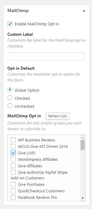 Give Form MailChimp Options