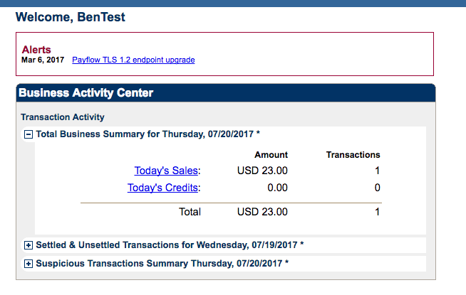 screenshot of PayPal Manager's interface for PayPal Pro.
