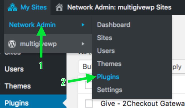 screenshot of Network Admin backend on WordPress.