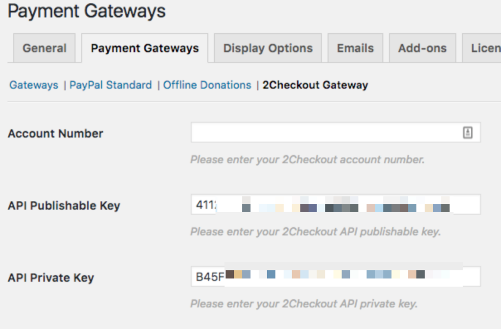 Screenshot of the Payment Gateway setting with the keys filled in, but the account number blank.