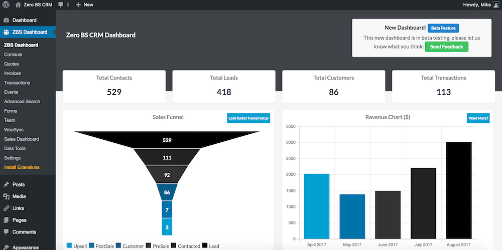 The ZBS CRM Dashboard